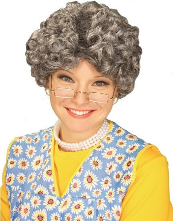 Adult Funny YO MOMMA Old Grey Curly Lady Woman Costume Wig Madea Party Granny