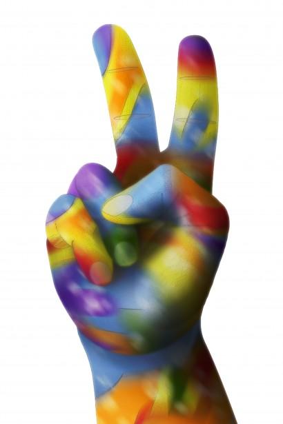 Image rainbow peace sign.