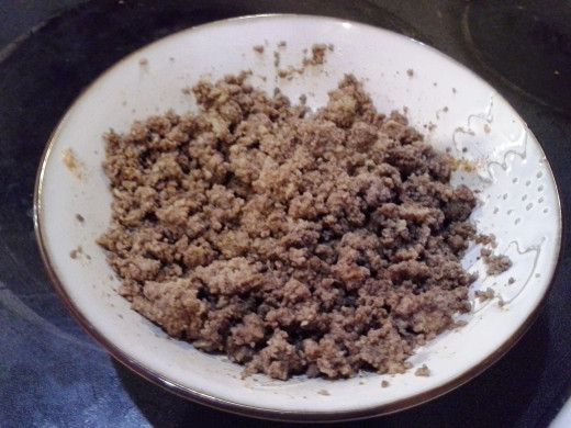 Step Seven: Mix your seasoning into your hamburger; You may need a 1/4 cup of water or so