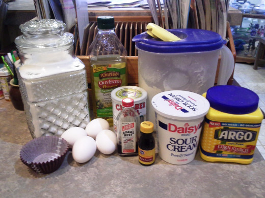 Ingredients for Half and Half Cupcakes