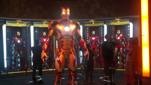 Iron Man's suits on display.