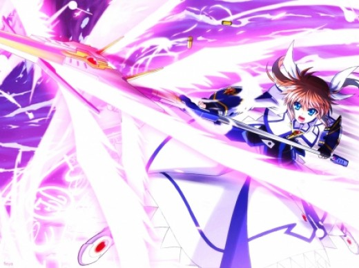 Nanoha with Raising Heart Excelion Cannon mode