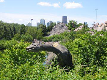 A dinosaur replica at the Calgary Zoo