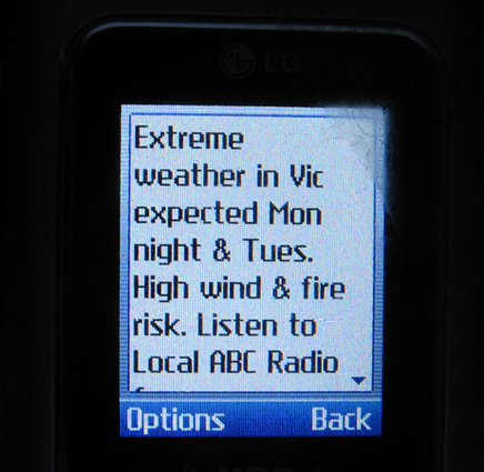 Unprecedented SMS Message sent by the Victorian Police to all Mobile Phones.