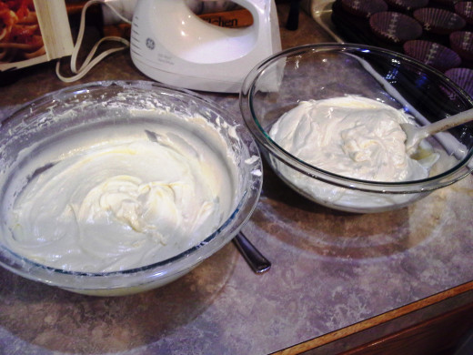 Step Three: Separate your batter into two different bowls evenly