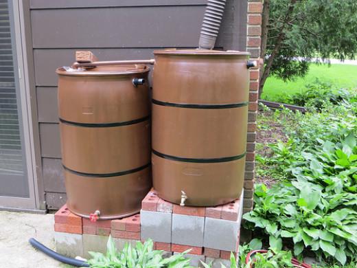 water barrels / butts linked together