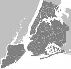 Neighbourhoods of New York City map