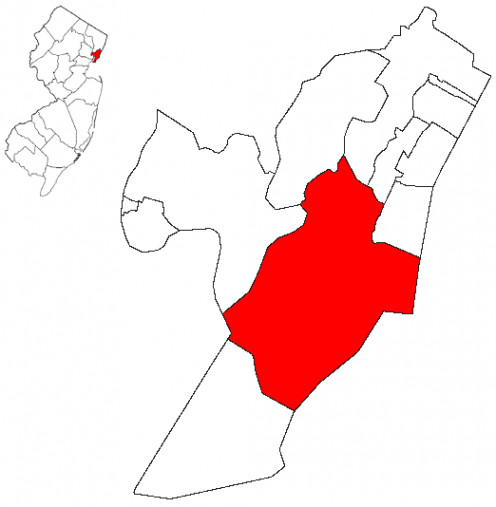 Map location of Jersey City, within Hudson County, New Jersey
