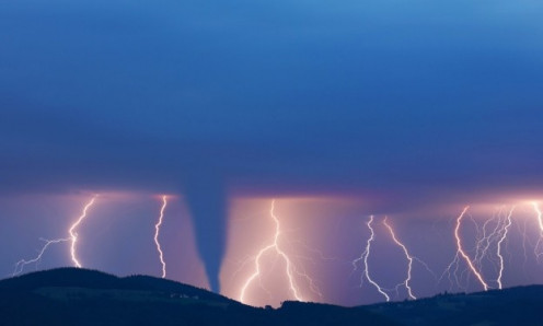 Twisters frequently are accompanied by thunder and lightning.