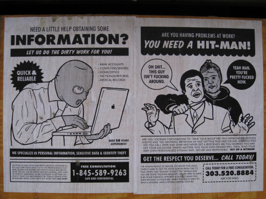"""A phony advertisement offering a """"hit men service"""""""