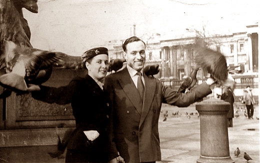 My own mother and father feeding the birds inTrafalgar Square, London, on their honeymoon in the 1960s.