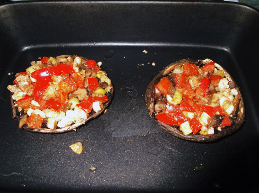 When the caps have browned and the stuffing cooked through, remove from the oven.