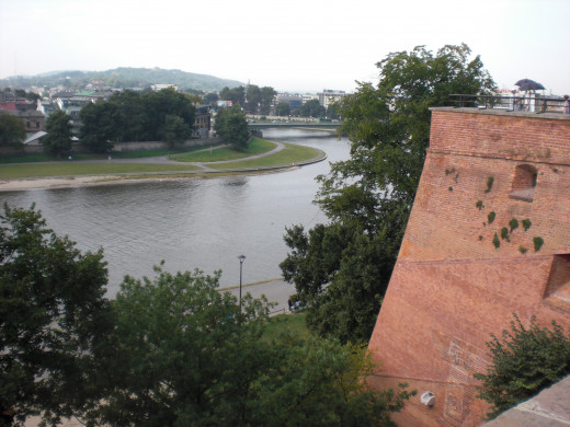 Overlooking the Vistula River from Wawel Hill in Cracow.
