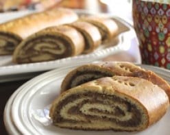 picture of nut rolls on a plate and displayed for family and friends to enjoy.