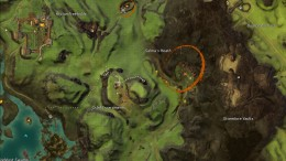 Map, including my descent from the hill. You can see the brown blob that is the tent with the chest in it and when I stopped in to loot the chest before I turned around to jump off the cliff.