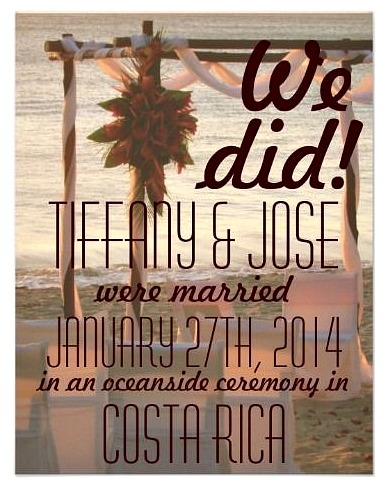 Costa Rica destination wedding invitations, save the date cards and more from Tropical Papers