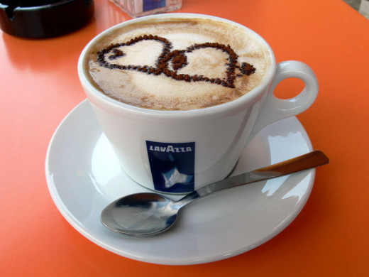 Cappucino Coffee is perfect for latte are and making images with the chocolate powder sprinkled on top