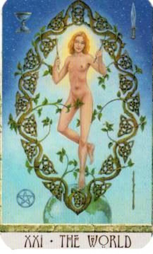 "A Druid ""World"" Tarot card."