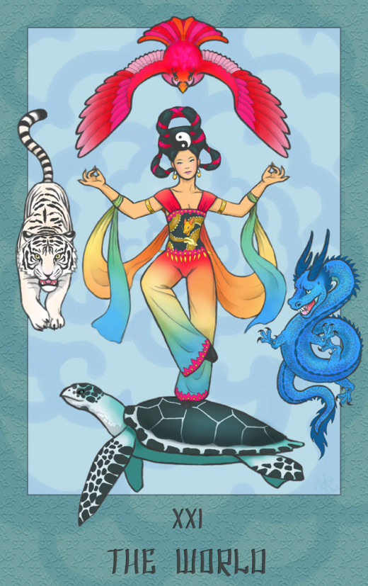 "An oriental ""World"" Tarot card."