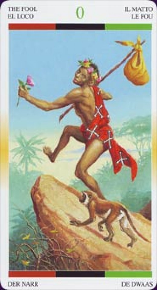 "An African ""Fool"" Tarot card."