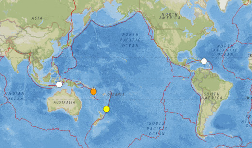 All 6.4 or larger earthquakes for the period from 12/1/2013 through 2/7/2014.