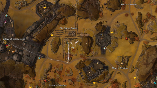 Map path from Vir's Gate WP.
