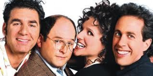 """Kramer, Jerry, Elaine and George are friends living in New York in the hit sitcom, """"Seinfeld"""".  Reruns play on several television stations everyday in the United Staes."""