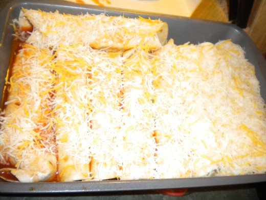 Add left over sauce to the top of those you want sauce on, add cheese and then pop in the oven.