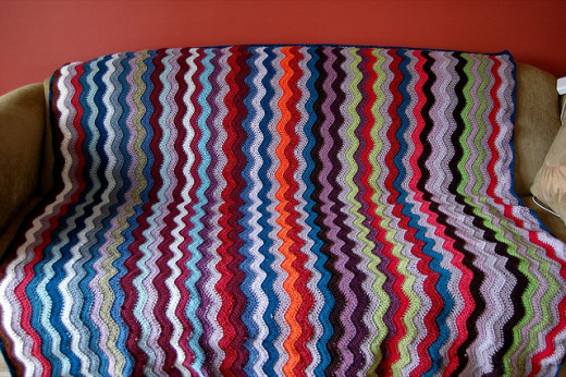 Multi-Colored Ripple Crochet Afghan