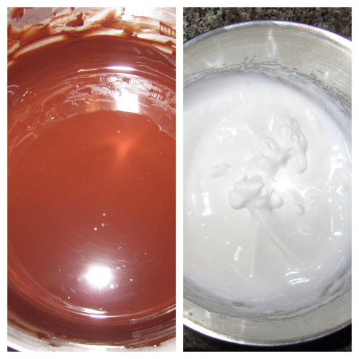 Left side: here is what the chocolate and butter looks like when it is melted and mixed together. Right side: here are the egg whites after being mixed together with an electric mixer.