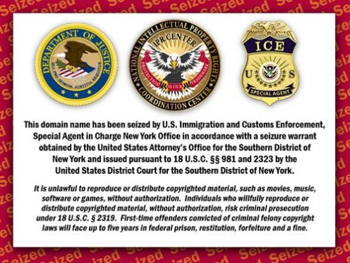 Notice of domain name seizure by the US government