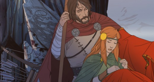 Rook, the protagonist of The Banner Saga, with his daughter Alette