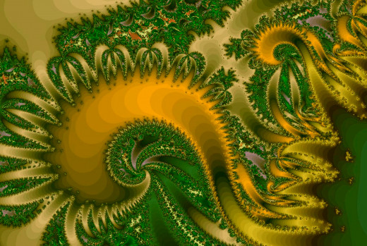 Yellow/green spiral fractal. Full-size: http://hubpages.com/u/8728688.png