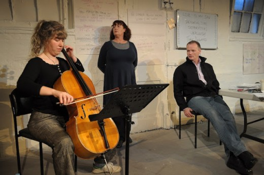 A scene from the play. From left to right: Helen Barclay, Lovell and Willis
