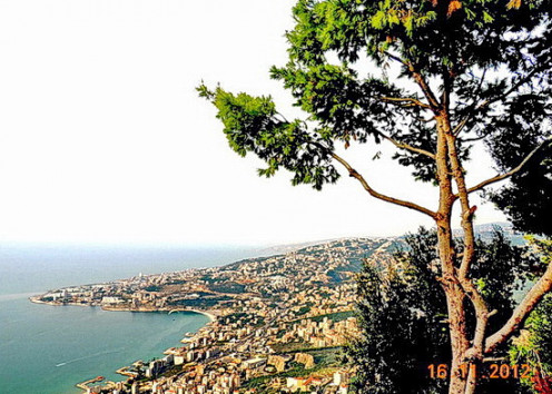 Beautiful view of the bay of Jounieh shot from the top of Mt Harissa