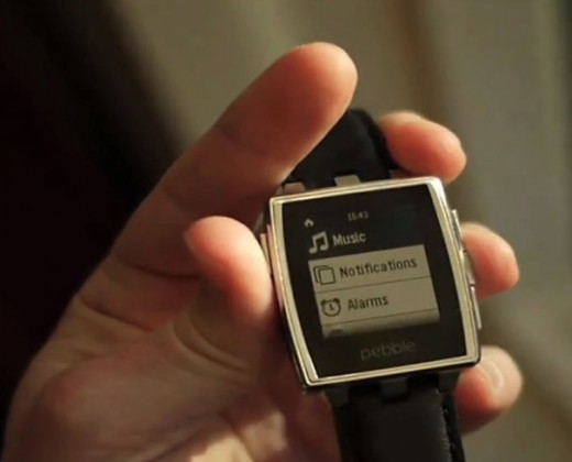 Pebble Steel - in brushed stainless with a black leather wristband