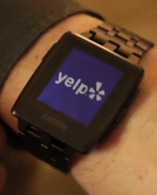 Yelp installed on a Pebble Steel in Black matte