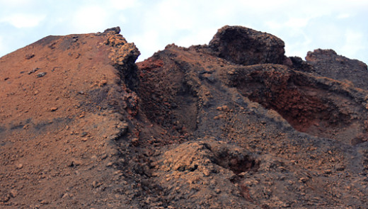 The primeval landscape of the Timanfaya National Park on Lanzarote