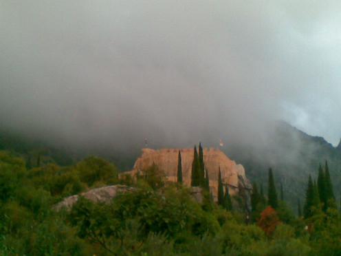 The old mysterious castle on a misty day