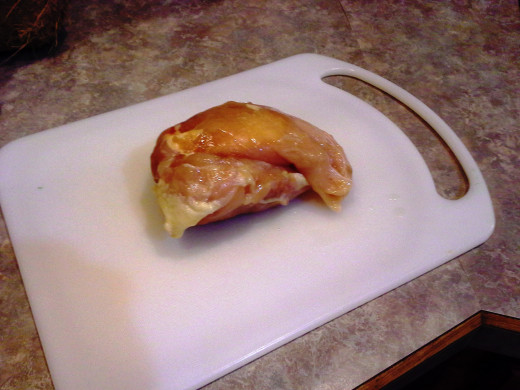 Step Two: Pull out your chicken before it's completely thawed; It will be easier to cut partially frozen, but impossible to cut if frozen through