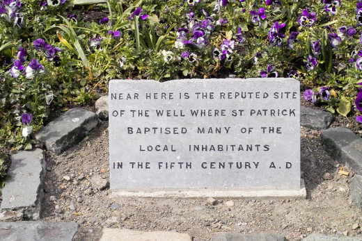 Marker at the well where St. Patrick baptized new Catholics
