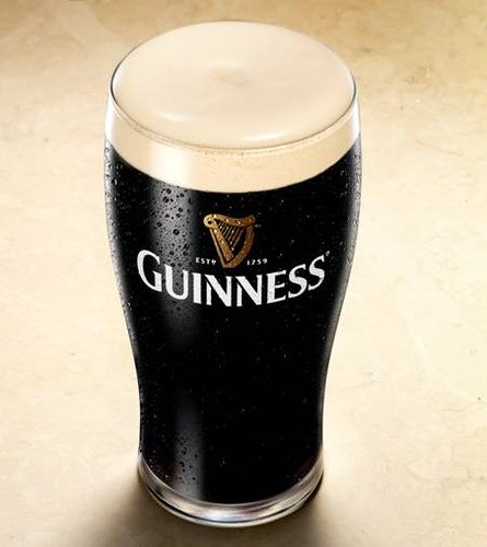 Guinness looks like it's black, but when you hold it up to the light it is actually a dark ruby red colour.