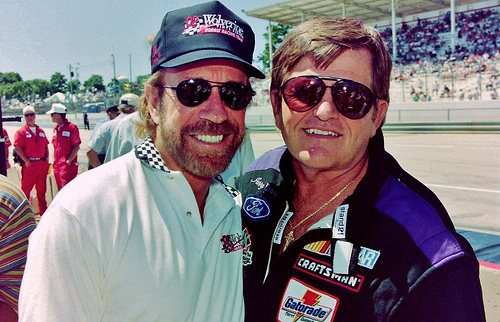 Chuck Norris and Jerry Glanville- NASCAR Photography by Darryl Moran 102