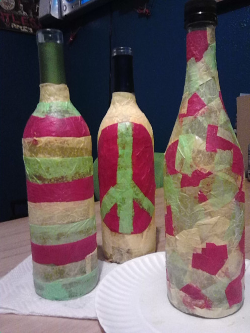 Wine Vases Made out of Wine Bottles