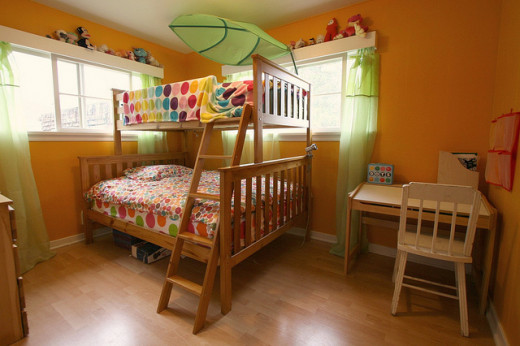 Wooden bunk beds for a child's bedroom.