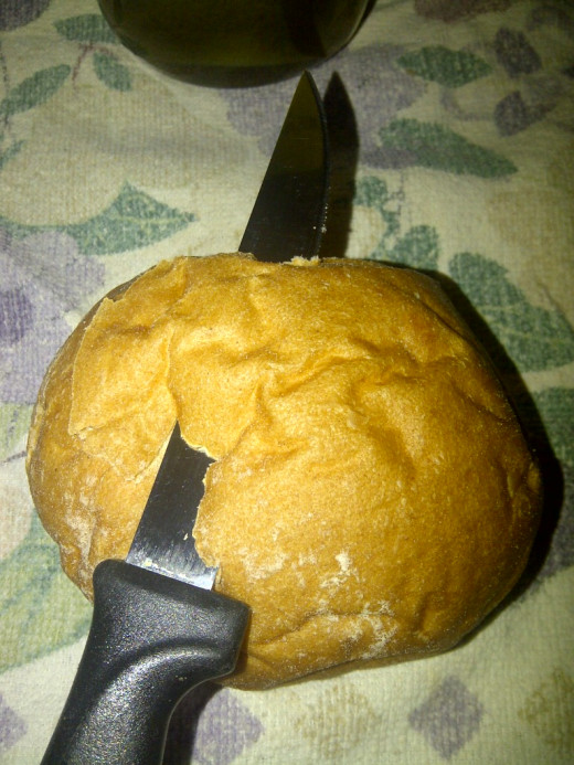 Carefully shave off top of bun with sharp knife
