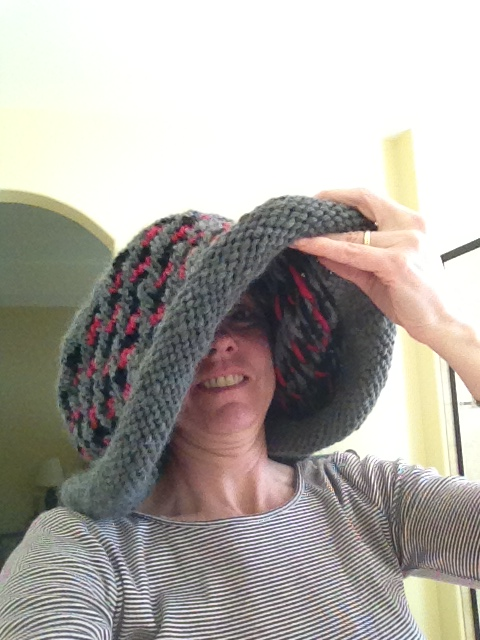 Hat before fulling - it really will fit eventually!