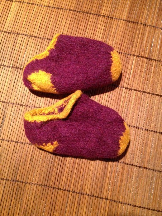 "Slippers commonly referred to as ""felted"""