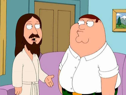 Peter hangs out with Jesus on Family Guy