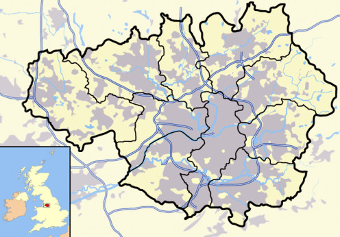 Map location of Greater Manchester